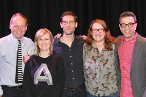 The Museum Of Curiosity. Image shows from L to R: John Lloyd, Holly Walsh, David Bramwell, Sarah Millican, Stephen J. Dubner. Copyright: BBC.