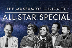 The Museum Of Curiosity. Image shows from L to R: John Lloyd, Jo Brand, Sally Phillips, Jimmy Carr, Lee Mack. Copyright: BBC.