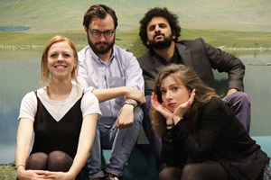 Newsjack. Image shows from L to R: Ellie White, George Fouracres, Nish Kumar, Celeste Dring. Copyright: BBC.