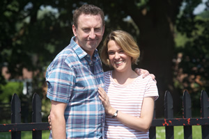 Not Going Out. Image shows from L to R: Lee (Lee Mack), Lucy (Sally Bretton).