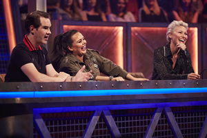 Pants On Fire. Image shows from L to R: Jimmy Carr, Scarlett Moffatt, Emma Willis. Copyright: Fulwell 73 Productions.