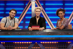 Pants On Fire. Image shows from L to R: Kem Cetinay, Emma Willis, Melanie Brown. Copyright: Fulwell 73 Productions.
