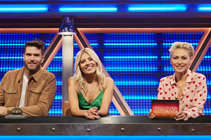 Pants On Fire. Image shows from L to R: Joel Dommett, Mollie King, Emma Willis. Copyright: Fulwell 73 Productions.
