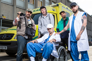 People Just Do Nothing. Image shows from L to R: Chabuddy G (Asim Chaudhry), Steves (Steve Stamp), Grindah (Allan Mustafa), Decoy (Daniel Sylvester Woolford), Beats (Hugo Chegwin). Copyright: Roughcut Television.