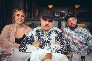 People Just Do Nothing. Image shows from L to R: Michelle (Lily Brazier), Grindah (Allan Mustafa), Beats (Hugo Chegwin). Copyright: Roughcut Television.