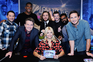 Play To The Whistle. Image shows from L to R: Jon Richardson, Anthony Joshua, Bradley Walsh, Seann Walsh, Holly Willoughby, Kevin Bridges, Romesh Ranganathan, Frank Lampard. Copyright: Hungry Bear Media.