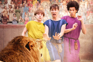 Plebs. Image shows from L to R: Grumio (Ryan Sampson), Marcus (Tom Rosenthal), Stylax (Joel Fry).