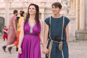 Plebs. Image shows from L to R: Minerva (Aisling Bea), Marcus (Tom Rosenthal). Copyright: RISE Films.