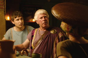 Plebs. Image shows from L to R: Marcus (Tom Rosenthal), Severus (Phil Davis). Copyright: RISE Films.