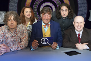 QI. Image shows from L to R: Alan Davies, Lucy Porter, Stephen Fry, Ross Noble, Matt Lucas. Copyright: TalkbackThames.