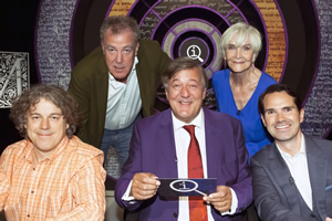 QI. Image shows from L to R: Alan Davies, Jeremy Clarkson, Stephen Fry, Sheila Hancock, Jimmy Carr. Copyright: TalkbackThames.
