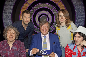 QI. Image shows from L to R: Alan Davies, Rhod Gilbert, Stephen Fry, Cariad Lloyd, Noel Fielding. Copyright: TalkbackThames.
