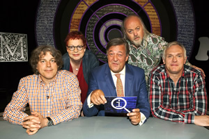 QI. Image shows from L to R: Alan Davies, Jo Brand, Stephen Fry, Bill Bailey, Greg Davies. Copyright: TalkbackThames.