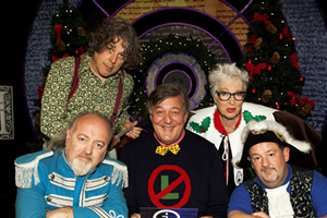 QI. Image shows from L to R: Bill Bailey, Alan Davies, Stephen Fry, Jenny Eclair, Johnny Vegas. Copyright: TalkbackThames.