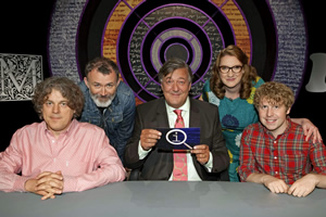 QI. Image shows from L to R: Alan Davies, Tommy Tiernan, Stephen Fry, Sarah Millican, Josh Widdicombe. Copyright: TalkbackThames.