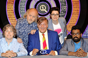 QI. Image shows from L to R: Alan Davies, Bill Bailey, Stephen Fry, Sue Perkins, Romesh Ranganathan. Copyright: TalkbackThames.