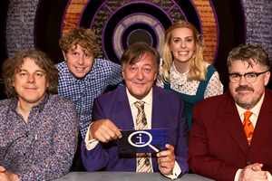 QI. Image shows from L to R: Alan Davies, Josh Widdicombe, Stephen Fry, Sara Pascoe, Phill Jupitus. Copyright: TalkbackThames.
