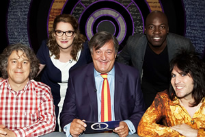 QI. Image shows from L to R: Alan Davies, Sarah Millican, Stephen Fry, Eddie Kadi, Noel Fielding. Copyright: TalkbackThames.