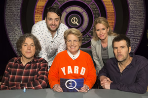 QI. Image shows from L to R: Alan Davies, Jason Manford, Sandi Toksvig, Lucy Beaumont, Rhod Gilbert. Copyright: TalkbackThames.