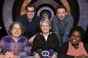 QI. Image shows from L to R: Alan Davies, Richard Osman, Sandi Toksvig, Lee Mack, Lolly Adefope. Copyright: TalkbackThames.