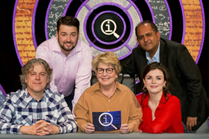 QI. Image shows from L to R: Alan Davies, Jason Manford, Sandi Toksvig, Anuvab Pal, Aisling Bea. Copyright: TalkbackThames.