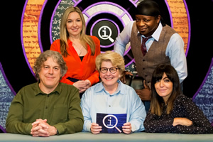 QI. Image shows from L to R: Alan Davies, Victoria Coren Mitchell, Sandi Toksvig, Stephen K Amos, Claudia Winkleman. Copyright: TalkbackThames.