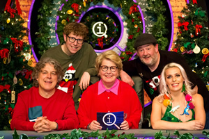 QI. Image shows from L to R: Alan Davies, Josh Widdicombe, Sandi Toksvig, Johnny Vegas, Sara Pascoe.