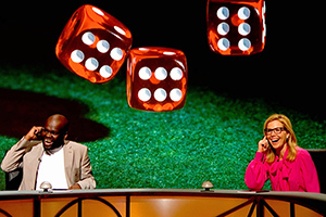 QI. Image shows from L to R: Daliso Chaponda, Sally Phillips.