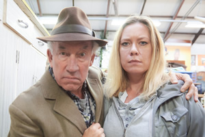 The Rebel. Image shows from L to R: Henry Palmer (Simon Callow), Cath (Anna Crilly). Copyright: Retort.