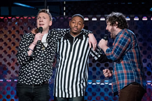 Roast Battle. Image shows from L to R: Joe Lycett, Brian Moses, Nick Helm.