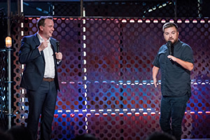 Roast Battle. Image shows from L to R: Matt Forde, Alex Brooker.