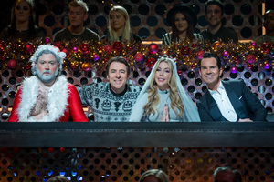 Roast Battle. Image shows from L to R: Santa (Nick Helm), Jonathan Ross, Katherine Ryan, Jimmy Carr.