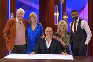The Rob Rinder Verdict. Image shows from L to R: Stanley Johnson, Rachel Johnson, Robert Rinder, Joanna Lumley, Tez Ilyas.