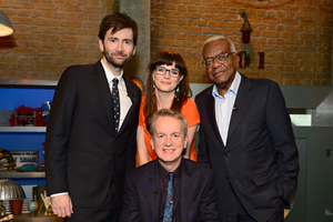 Room 101. Image shows from L to R: David Tennant, Aisling Bea, Frank Skinner, Trevor McDonald. Copyright: Hat Trick Productions.