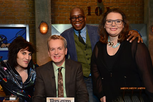 Room 101. Image shows from L to R: Noel Fielding, Frank Skinner, Ian Wright, Joanna Scanlan. Copyright: Hat Trick Productions.