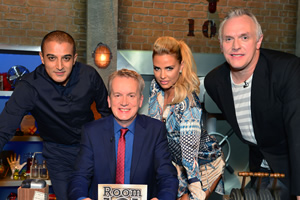 Room 101. Image shows from L to R: Adil Ray, Frank Skinner, Katie Price, Greg Davies. Copyright: Hat Trick Productions.