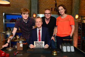 Room 101. Image shows from L to R: James Acaster, Frank Skinner, Heston Blumenthal, Kirsty Wark. Copyright: Hat Trick Productions.