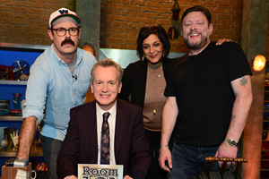 Room 101. Image shows from L to R: Sam Simmons, Frank Skinner, Meera Syal, Shaun Ryder. Copyright: Hat Trick Productions.