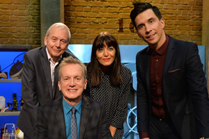 Room 101. Image shows from L to R: John Humphrys, Frank Skinner, Claudia Winkleman, Russell Kane. Copyright: Hat Trick Productions.