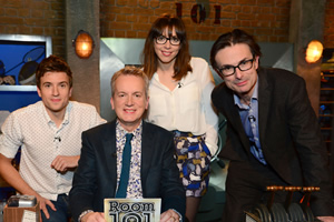 Room 101. Image shows from L to R: Greg James, Frank Skinner, Bridget Christie, Robert Peston. Copyright: Hat Trick Productions.