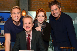 Room 101. Image shows from L to R: Russell Howard, Frank Skinner, Katherine Parkinson, John Torode. Copyright: Hat Trick Productions.