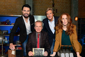 Room 101. Image shows from L to R: Rylan Clark-Neal, Frank Skinner, Nigel Havers, Catherine Tate. Copyright: Hat Trick Productions.