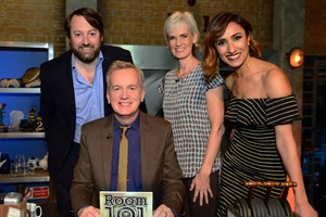 Room 101. Image shows from L to R: David Mitchell, Frank Skinner, Judy Murray, Anita Rani. Copyright: Hat Trick Productions.