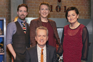 Room 101. Image shows from L to R: Ricky Wilson, Frank Skinner, Joe Lycett, Zoe Lyons. Copyright: Hat Trick Productions.