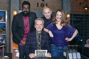 Room 101. Image shows from L to R: Romesh Ranganathan, Frank Skinner, Robert Rinder, Lucy Porter. Copyright: Hat Trick Productions.