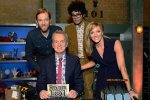 Room 101. Image shows from L to R: Alun Cochrane, Frank Skinner, Richard Ayoade, Gabby Logan. Copyright: Hat Trick Productions.