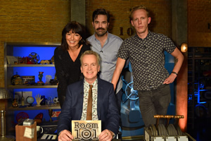 Room 101. Image shows from L to R: Davina McCall, Frank Skinner, Rob Delaney, Laurence Fox. Copyright: Hat Trick Productions.