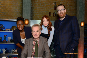 Room 101. Image shows from L to R: Nicola Adams, Frank Skinner, Diane Morgan, Frankie Boyle. Copyright: Hat Trick Productions.