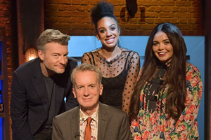 Room 101. Image shows from L to R: Charlie Brooker, Frank Skinner, Pearl Mackie, Scarlett Moffatt. Copyright: Hat Trick Productions.