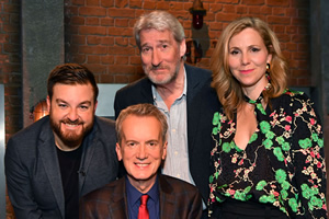 Room 101. Image shows from L to R: Alex Brooker, Frank Skinner, Jeremy Paxman, Sally Phillips. Copyright: Hat Trick Productions.